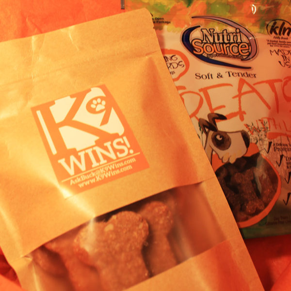 Dog treats in K9 Wins goodie pack